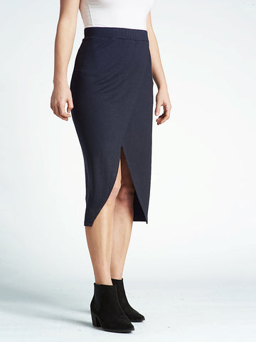 Midi Faux Wrap Skirt