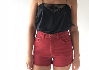 RED LOIS DENIM SHORTS