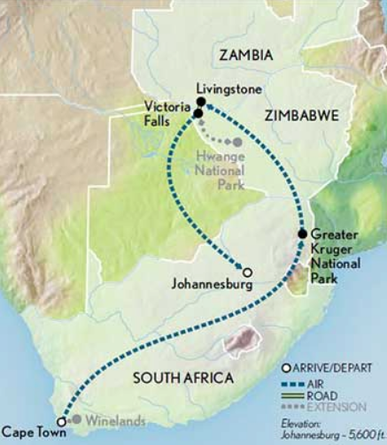 South Africa Trip Map