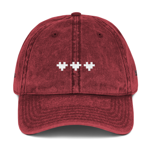 PIXEL LOVE VINTAGE COTTON TWILL CAP (RED)