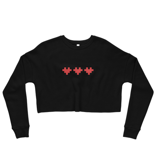 PIXELATED HEART CROP SWEATSHIRT