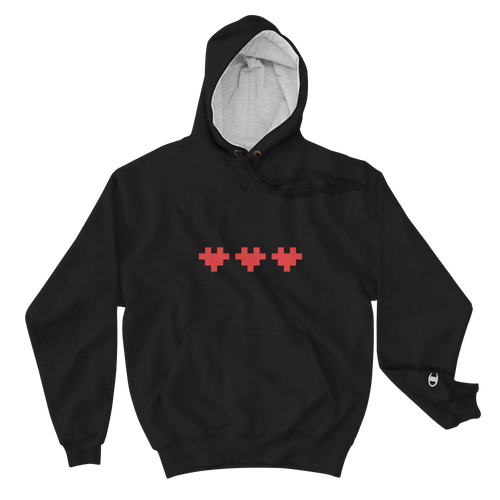 PIXELATED HEART CHAMPION HOODIE