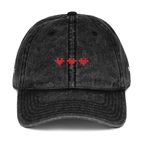 PIXEL LOVE VINTAGE COTTON TWILL CAP (BLACK)