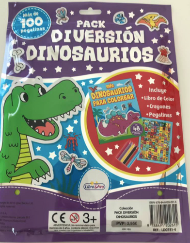 Pack diversion dinosarurio - libro de actividades y calcomanias