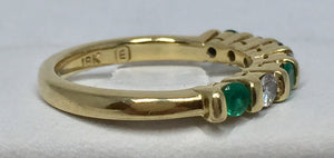 Vintage Diamond & Emerald Band