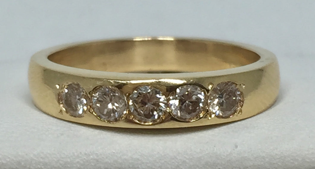 Ladies Diamond Gold Band