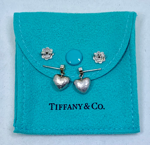 Vintage Tiffany & Co. Paloma Picasso Puffed Heart Shaped 18K White Gold & Diamond Earrings