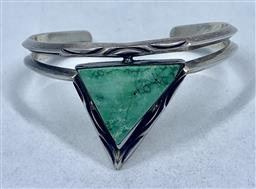 Navajo Zuni Hopi Geometric Turquoise Sterling Silver Cuff Bracelet Signed by Artisan RD 26.7 Grams Heavy