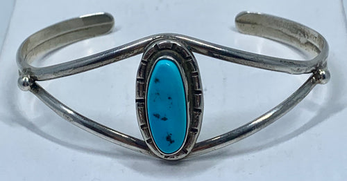 Native American Sleeping Beauty Turquoise & Sterling Silver Cuff Bangle Bracelet Signed