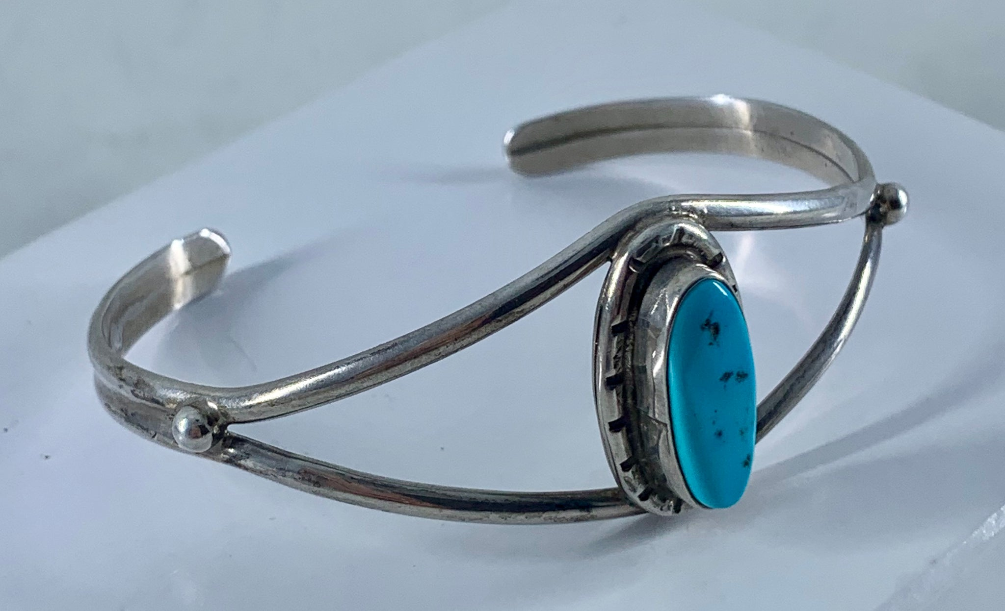 f2a7bcc59a6 ... Native American Sleeping Beauty Turquoise & Sterling Silver Cuff Bangle  Bracelet Signed