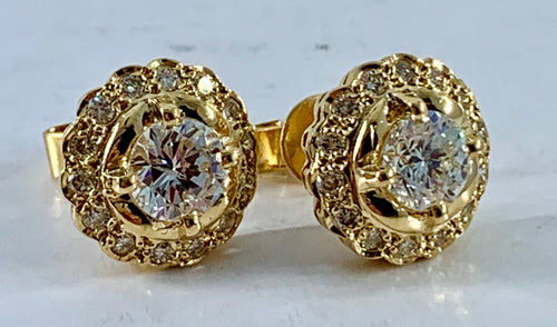 2.34TCW Diamond Stud Earrings 18K Yellow Gold GIA Certified
