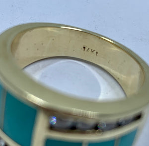 Solid Diamond & Turquoise 14k Yellow Gold Band Ring
