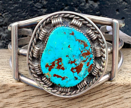 Native American Navajo Vintage Sterling Silver Turquoise Cuff Signed Paul Chee Artisan