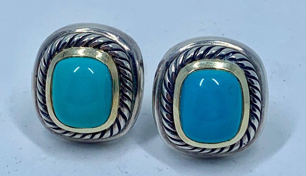 Designer David Yurman Albion Turquoise 14k Gold & Sterling Silver Cable Earrings