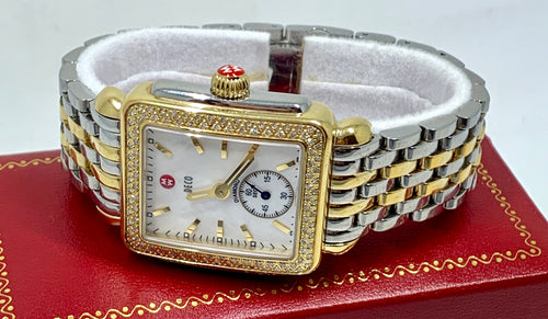 Michele Watch Deco Diamond Bezel 31mm MOP Face Two-Tone 18K Gold Stainless Steel + Link Bracelet
