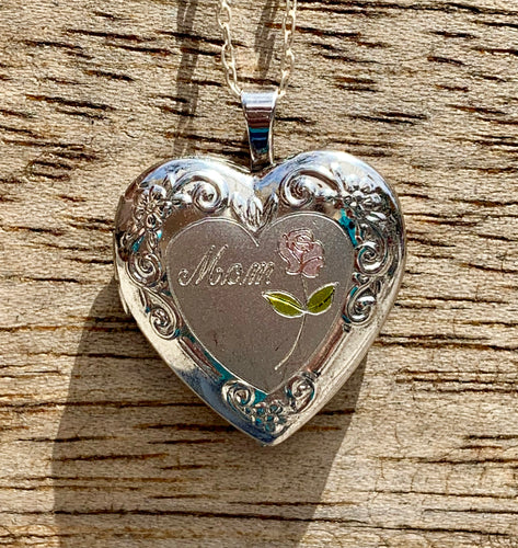 Darling Sterling Silver Heart Shaped Locket Pendant for Mom with Rose & Sterling Silver 18