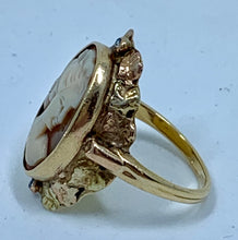 Amazing Antique Cameo Ring with Single Cut Round Diamonds Set in 18K Gold Circa 1880's