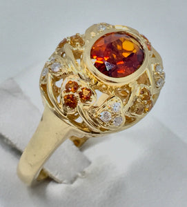 Citrine and Diamond Gold Ring