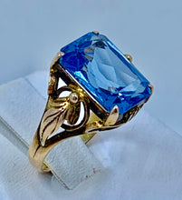 Edwardian Large London Blue Topaz Modified Octagonal Cut Ring Set & Marked 18K Gold