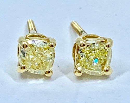 Canary Yellow Round Brilliant Diamonds Stud Earrings 1.0TCW Stunning 18K Yellow Gold w/ Screw Backs