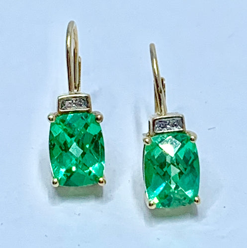 Stunning Modified Emerald Rectangular Cut Green Sapphire & Diamond 14K Yellow Gold Earrings