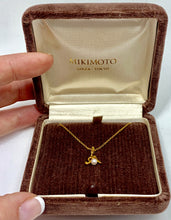 "18K Yellow Gold Mikimoto ""M"" & Pearl Pendant & 15"" 18K Yellow Gold Necklace Signed"