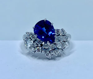 GIA Certified Natural Blue Pear Shape Sapphire & Near Colorless Diamond Ring 18K White Gold
