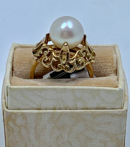 Antique Vintage 8.7mm Cream Pearl Solid 14K Yellow Gold Ring Great Details