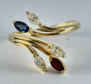 Diamond, Ruby and Blue Sapphire Adjustible Ring