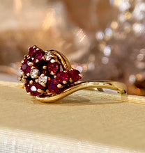 Stunning Vintage Diamond & Ruby Cluster Dress Cocktail Ring 14k Yellow Gold