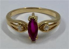 Stunning Vintage Ruby and Diamond Ring 18K Yellow Gold