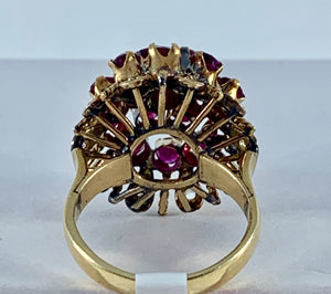 Antique Victorian Diamond & Ruby Burst Ring in 12k Yellow Gold