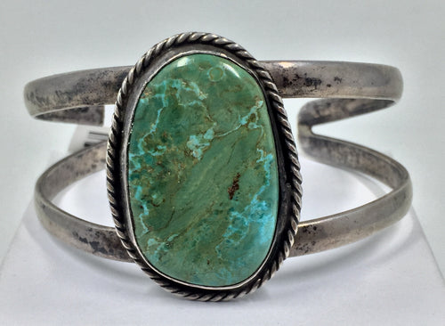 Turquoise and Silver Bangle Cuff