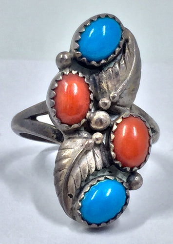 Signed Turquoise and Coral Navajo 925 Silver Ring