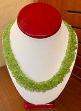 "Rich Green Peridot Chip Gem Necklace 18"" with 14k Yellow Gold Toggle Clasp"