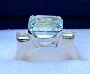 Art Deco Diamond & Emerald Cut Blue Topaz 18k White Gold Ring