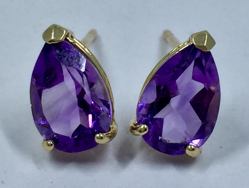 Teardrop Cut Purple Amethyst Stud Earrings