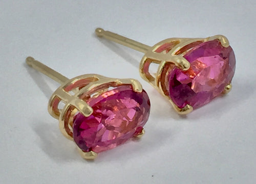 Oval Cut Pink Tourmaline Stud Earrings