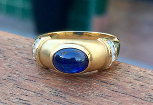 Blue Cabochon Sapphire and Diamond Ring 18K Gold