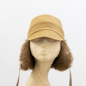 Tsuyumi Wool and Faux Fur Trapper Cap