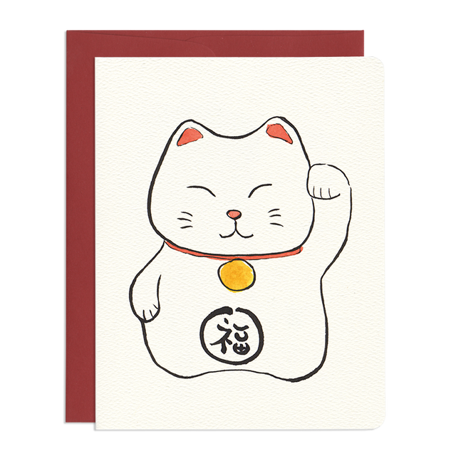 'Good Luck Maneki Neko' Card