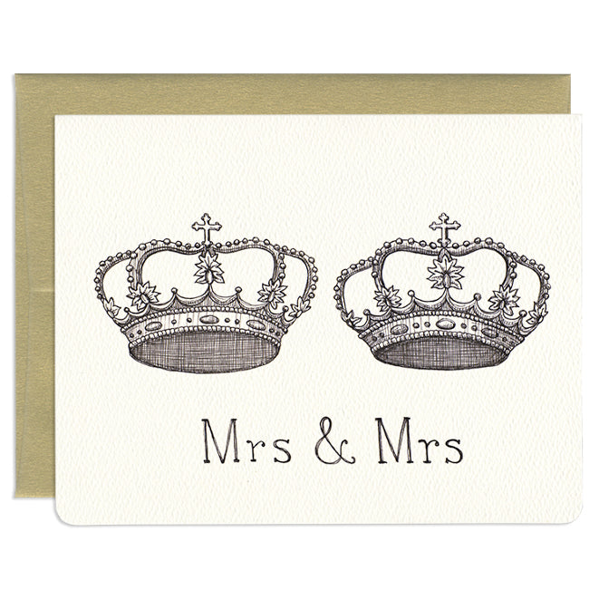 'Mrs. & Mrs' Royal Crowns Wedding Card