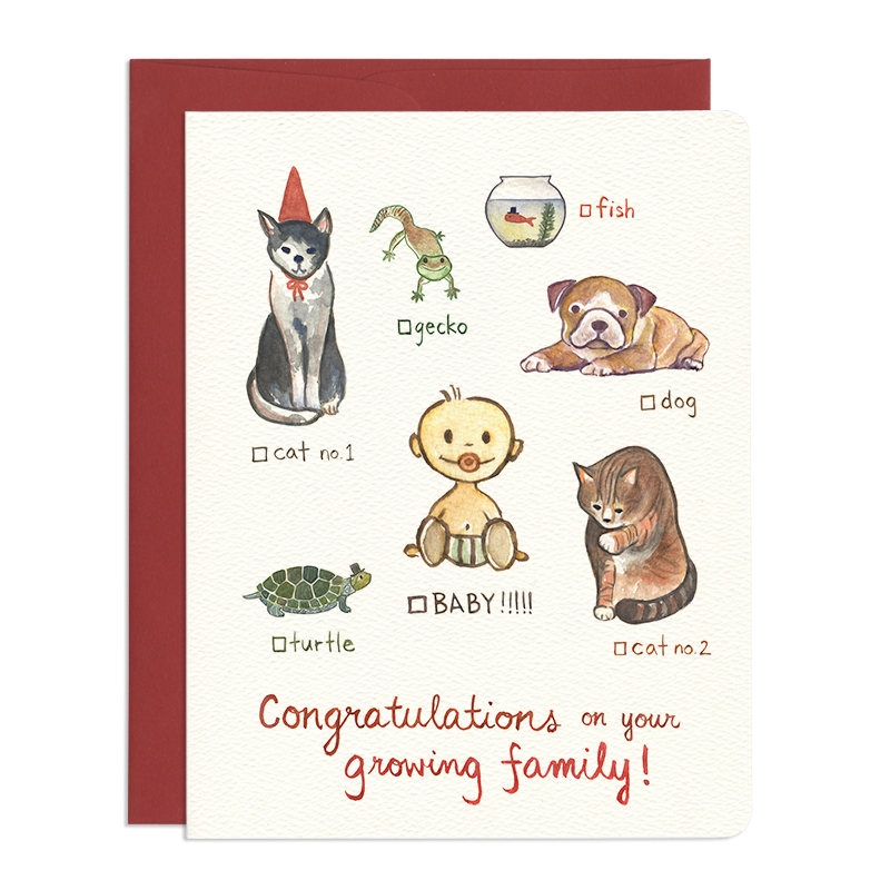 'Cat, Dog, Baby' Greeting Card