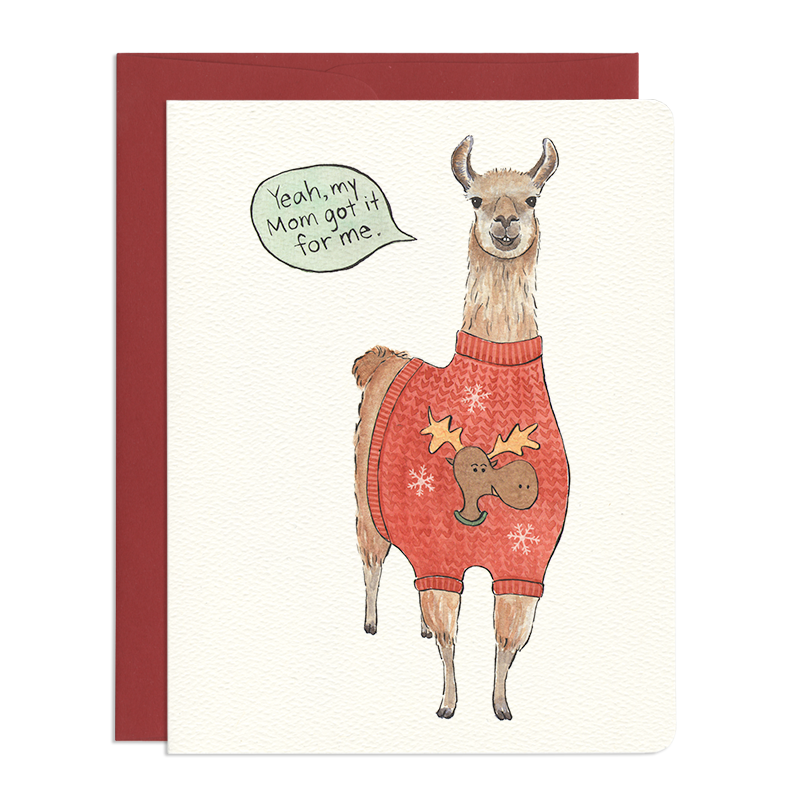 'Ugly Sweater Llama' Card