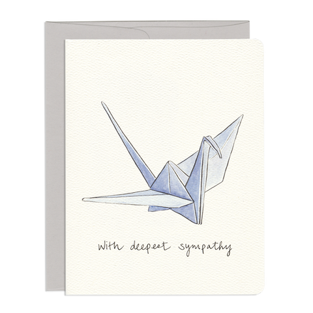 'With Deepest Sympathy' Paper Crane Card