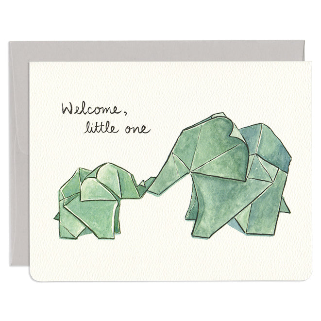 'Origami Elephants' Newborn Card