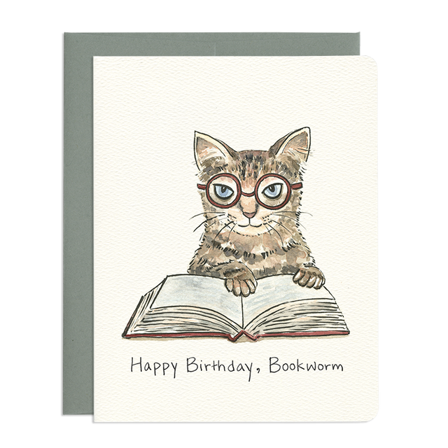 'Bookworm Cat' Birthday Card