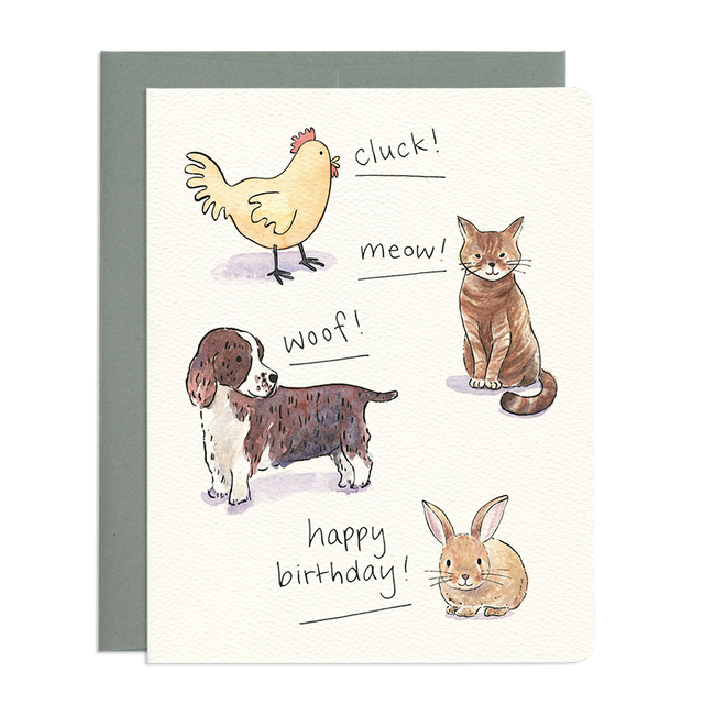 'Animal Sounds' Birthday Card