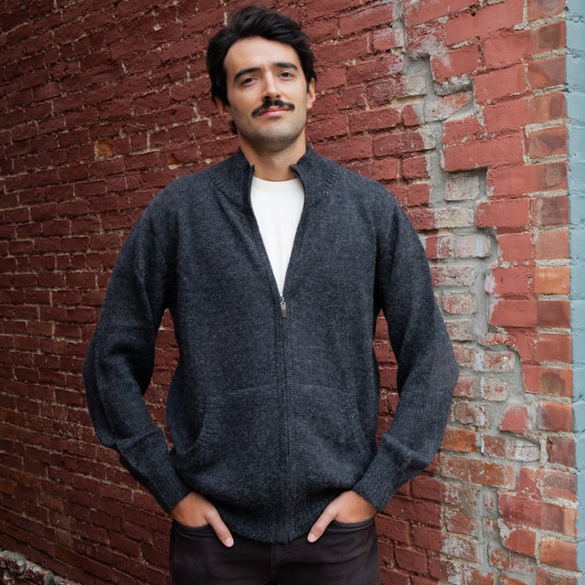 Men's Full-Zip Alpaca Cardigan