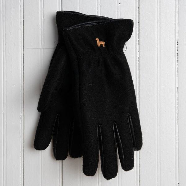 Black Felted Gloves